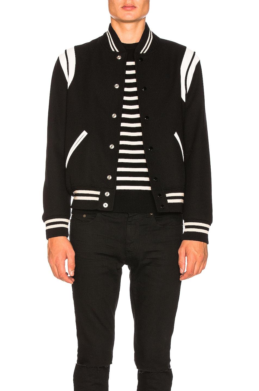 Image 3 of Saint Laurent Teddy Bomber Jacket in Black & White