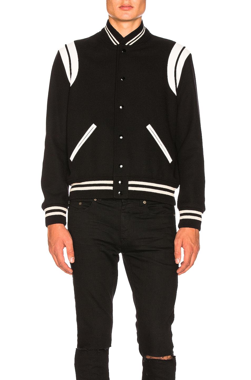 Image 4 of Saint Laurent Teddy Bomber Jacket in Black & White