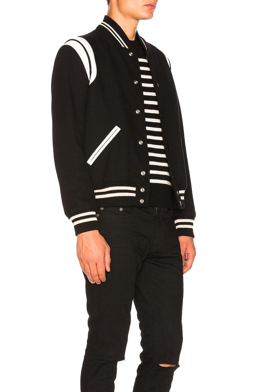 Image 5 of Saint Laurent Teddy Bomber Jacket in Black & White
