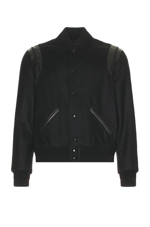 Image 1 of Saint Laurent Tonal Wool Teddy in Black