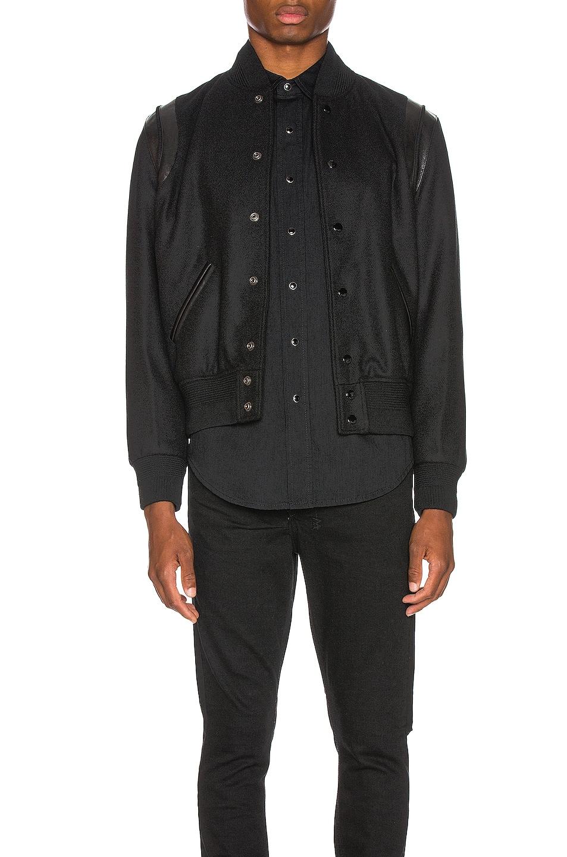 Image 3 of Saint Laurent Tonal Wool Teddy in Black