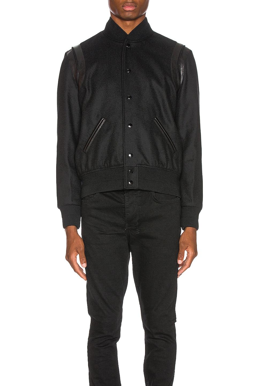 Image 4 of Saint Laurent Tonal Wool Teddy in Black