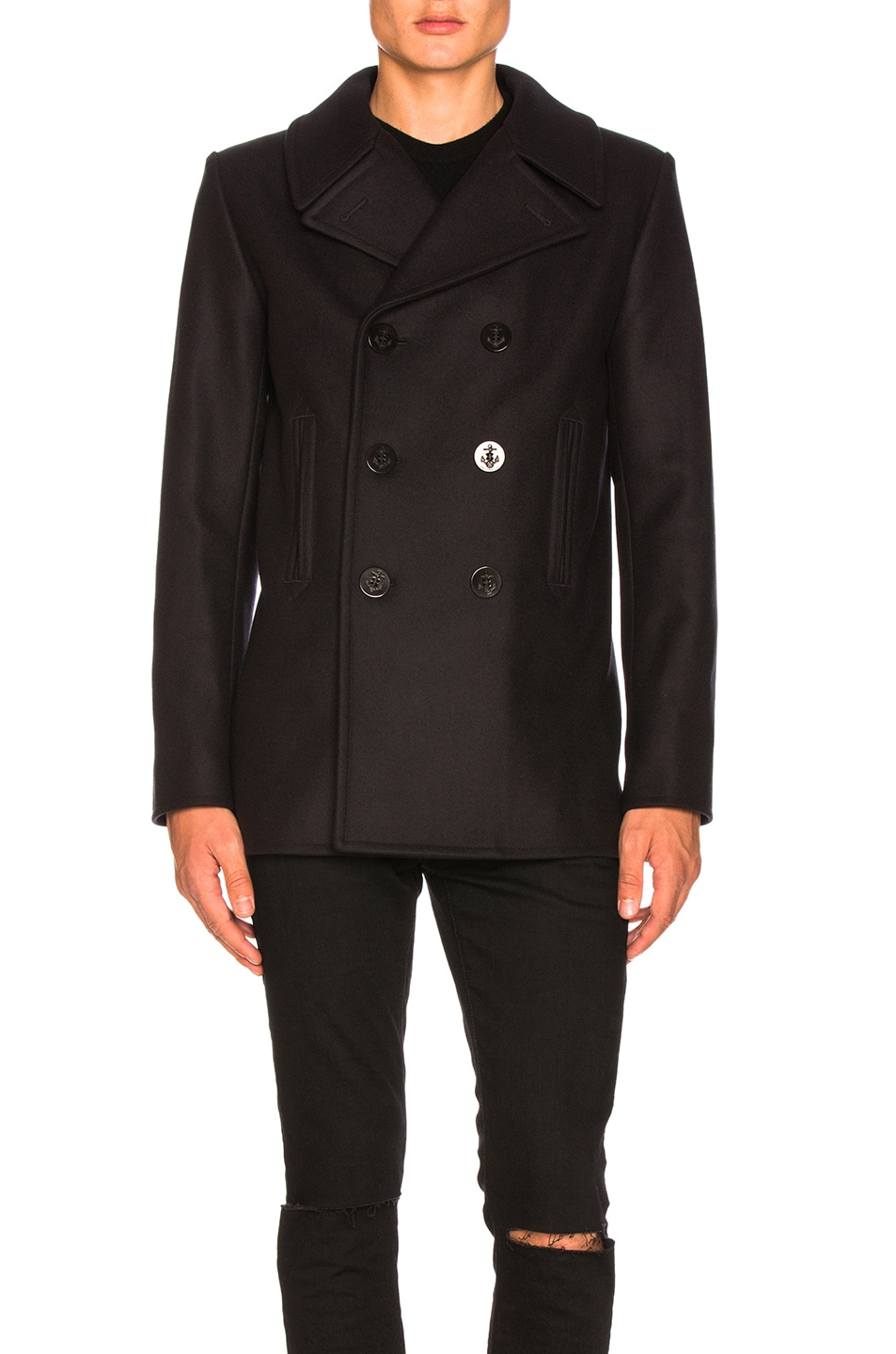 Image 2 of Saint Laurent Double Breasted Coat in Navy