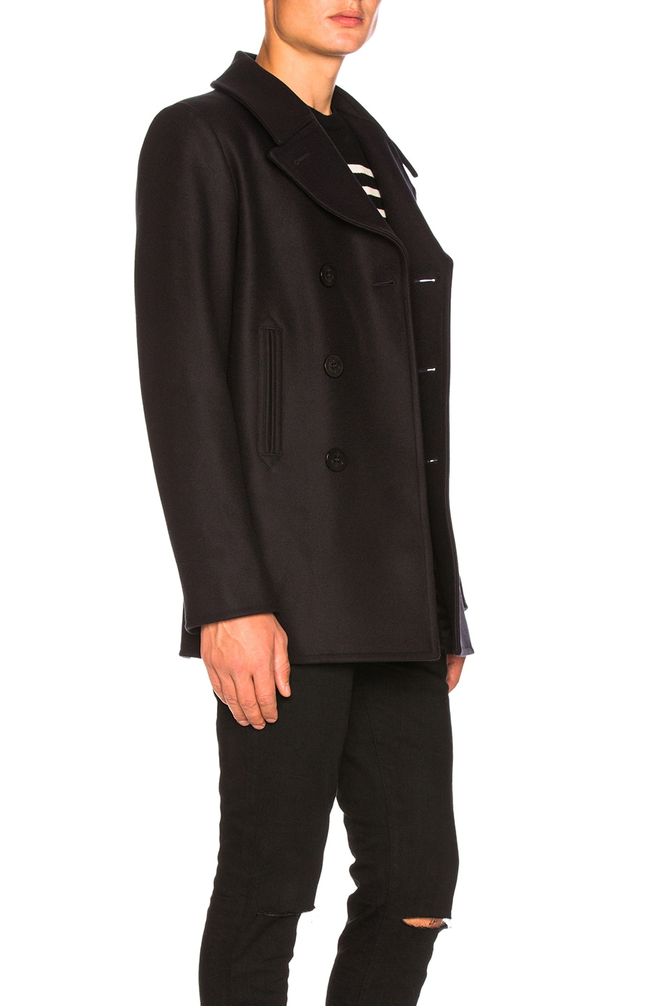 Image 3 of Saint Laurent Double Breasted Coat in Navy