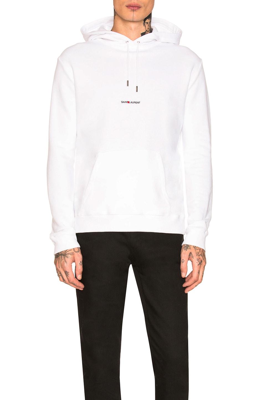 Image 1 of Saint Laurent Logo Hoodie in White