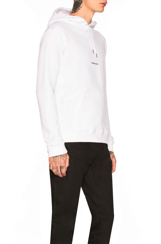 Image 2 of Saint Laurent Logo Hoodie in White