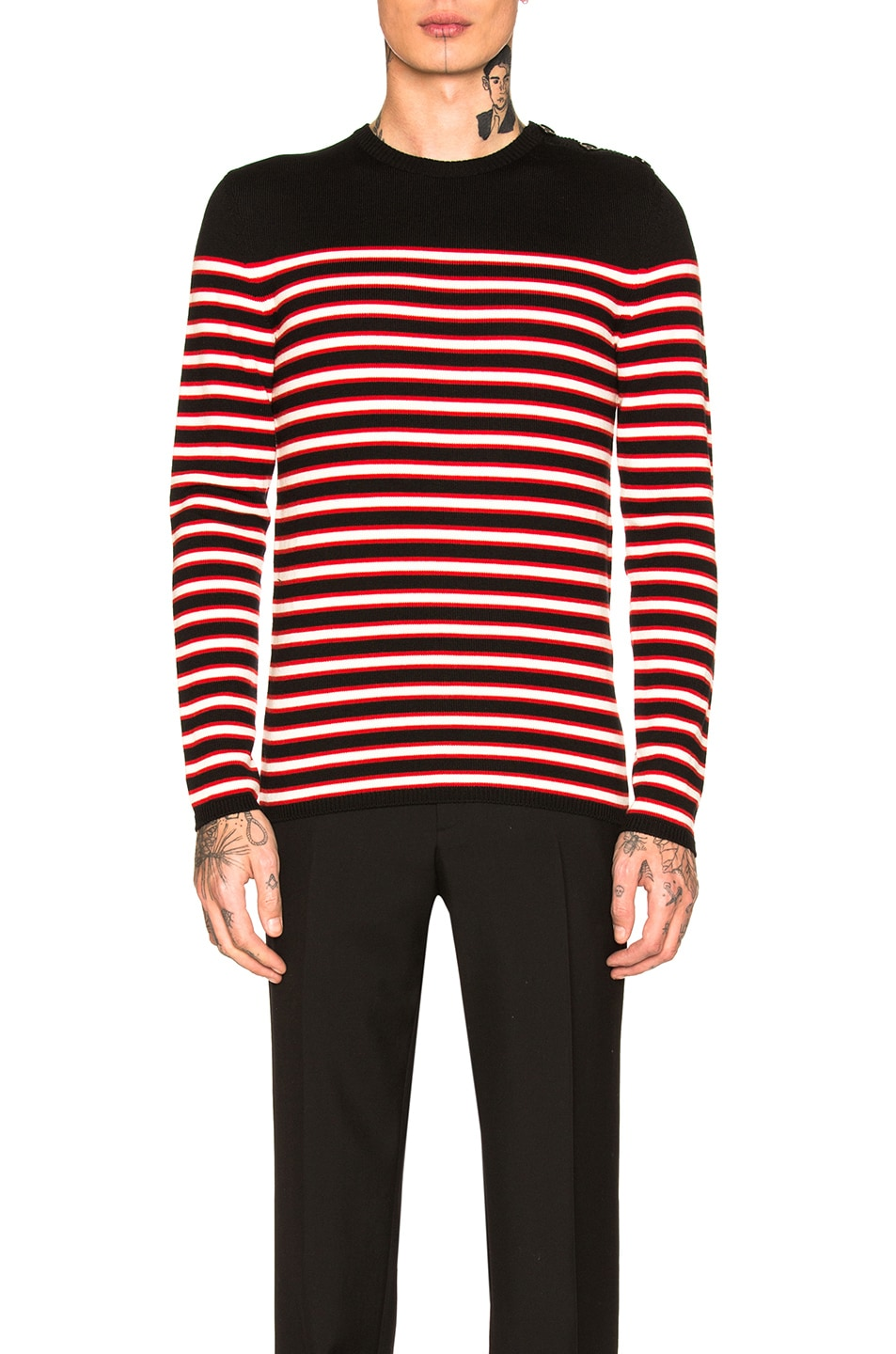 b69db0d76063 Image 1 of Saint Laurent Striped Cashmere Sweater in Black