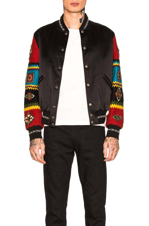 Image 1 of Saint Laurent Patchwork Bomber Jacket in Black