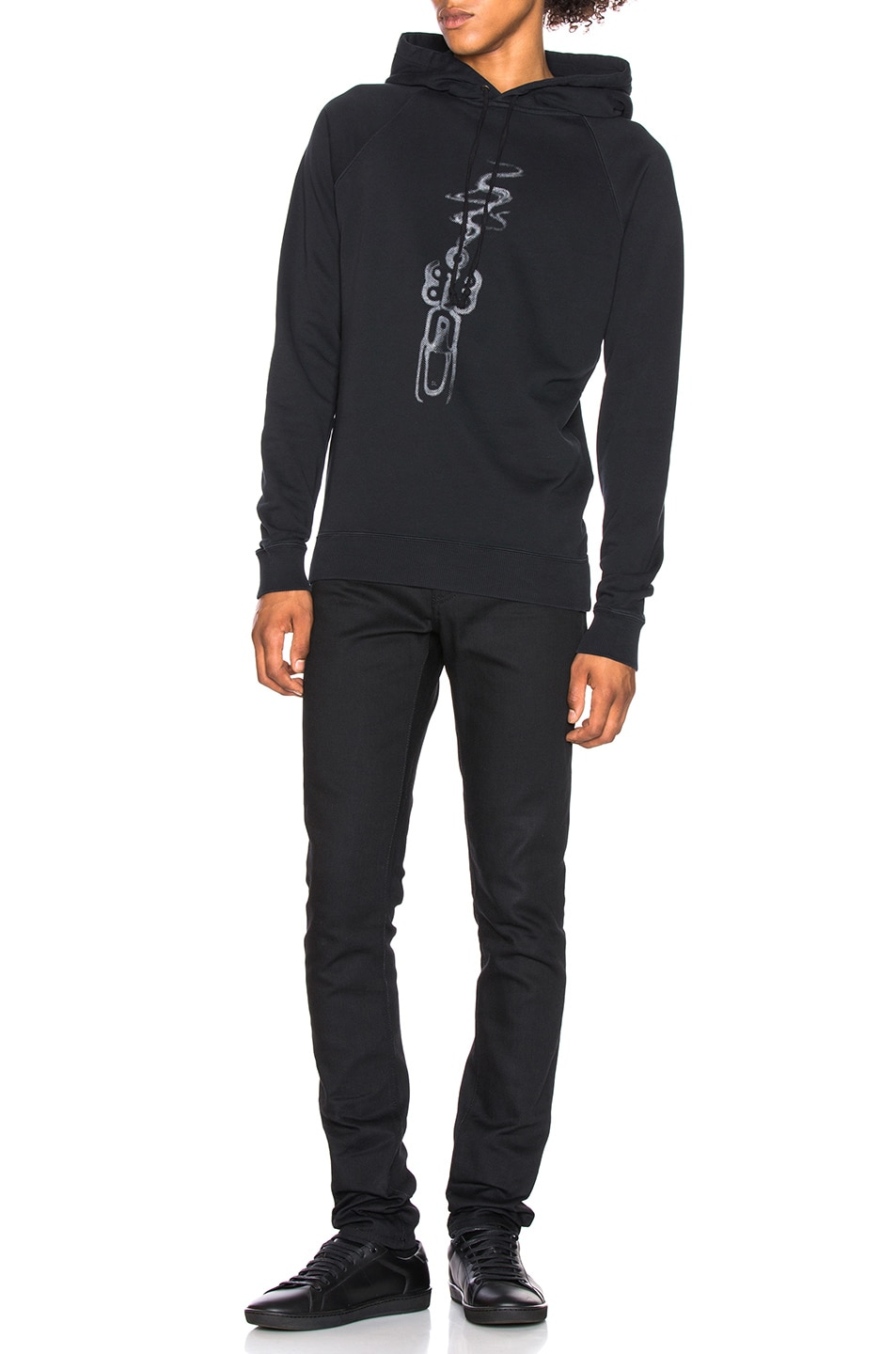 Image 4 of Saint Laurent Smoking Gun Hoodie in Black & Silver