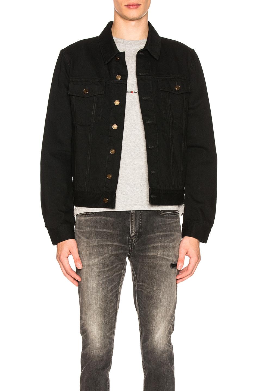 Image 1 of Saint Laurent Denim Jacket in Black in Worn Black