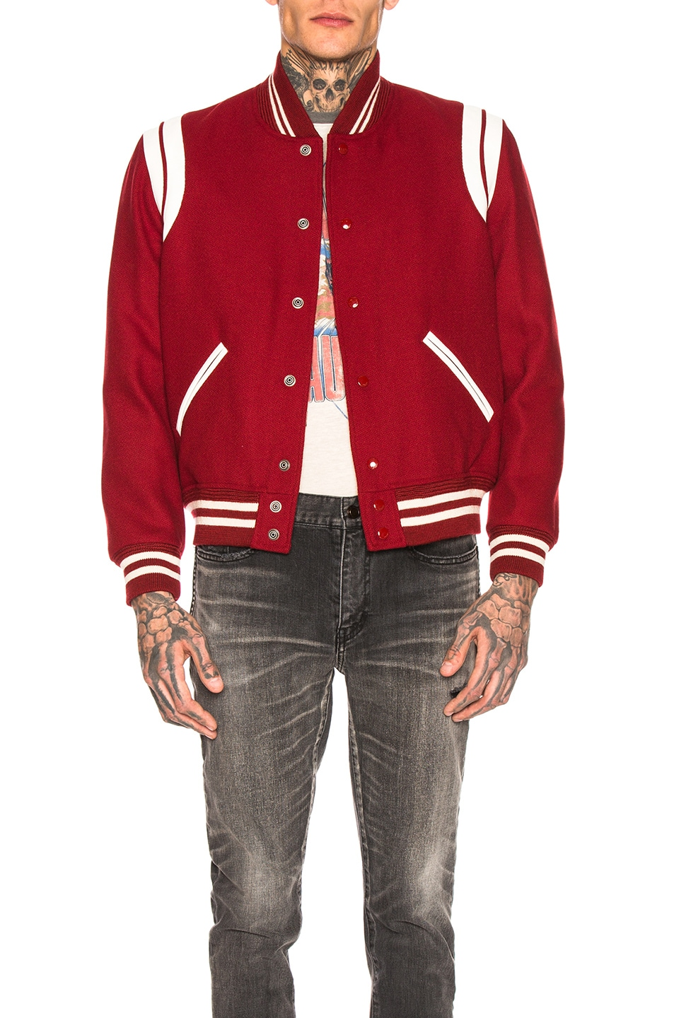 a17c1435f54 Image 1 of Saint Laurent Teddy Varsity Jacket in Red