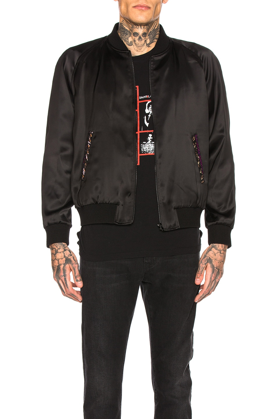 Image 2 of Saint Laurent Teddy Varsity Jacket in Black