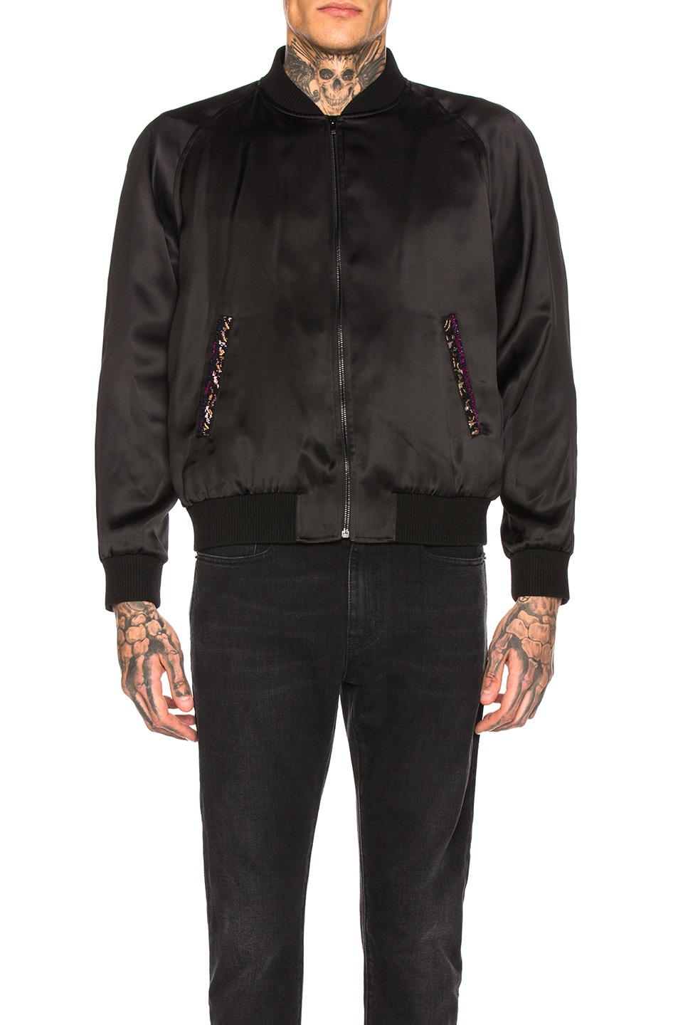 Image 3 of Saint Laurent Teddy Varsity Jacket in Black