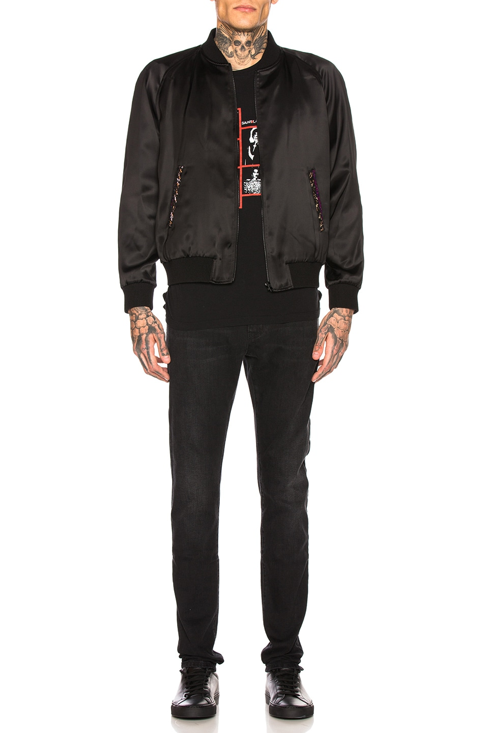Image 6 of Saint Laurent Teddy Varsity Jacket in Black