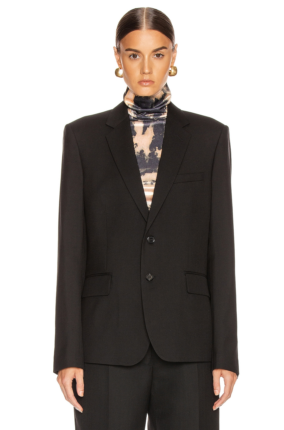 Image 2 of Saint Laurent Two Button Gabardine Blazer in Black