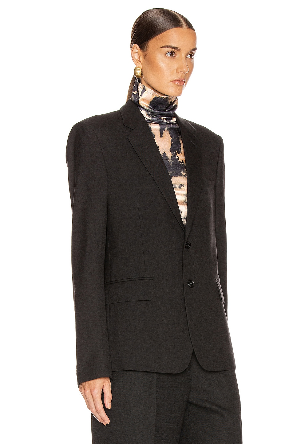 Image 3 of Saint Laurent Two Button Gabardine Blazer in Black