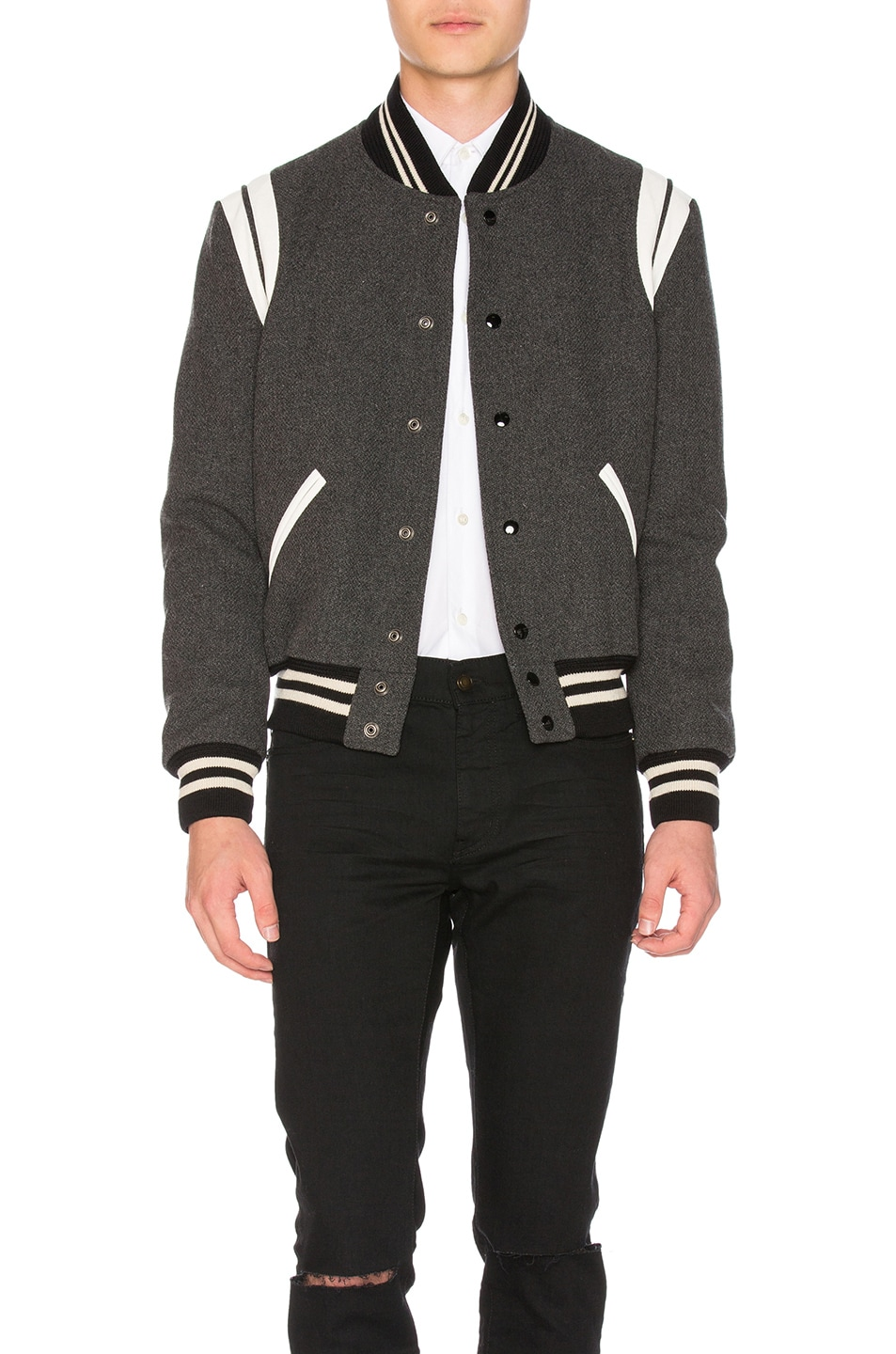 Image 1 of Saint Laurent Teddy Bomber Jacket in Grey Melange
