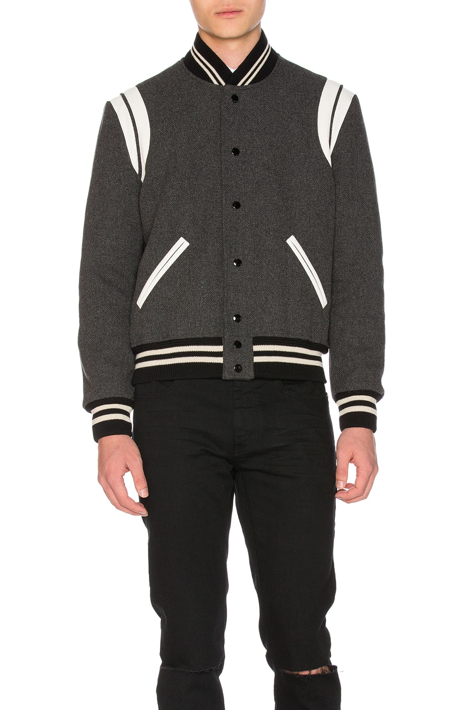 Image 2 of Saint Laurent Teddy Bomber Jacket in Grey Melange