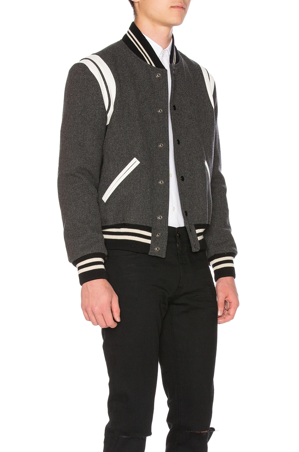 Image 3 of Saint Laurent Teddy Bomber Jacket in Grey Melange