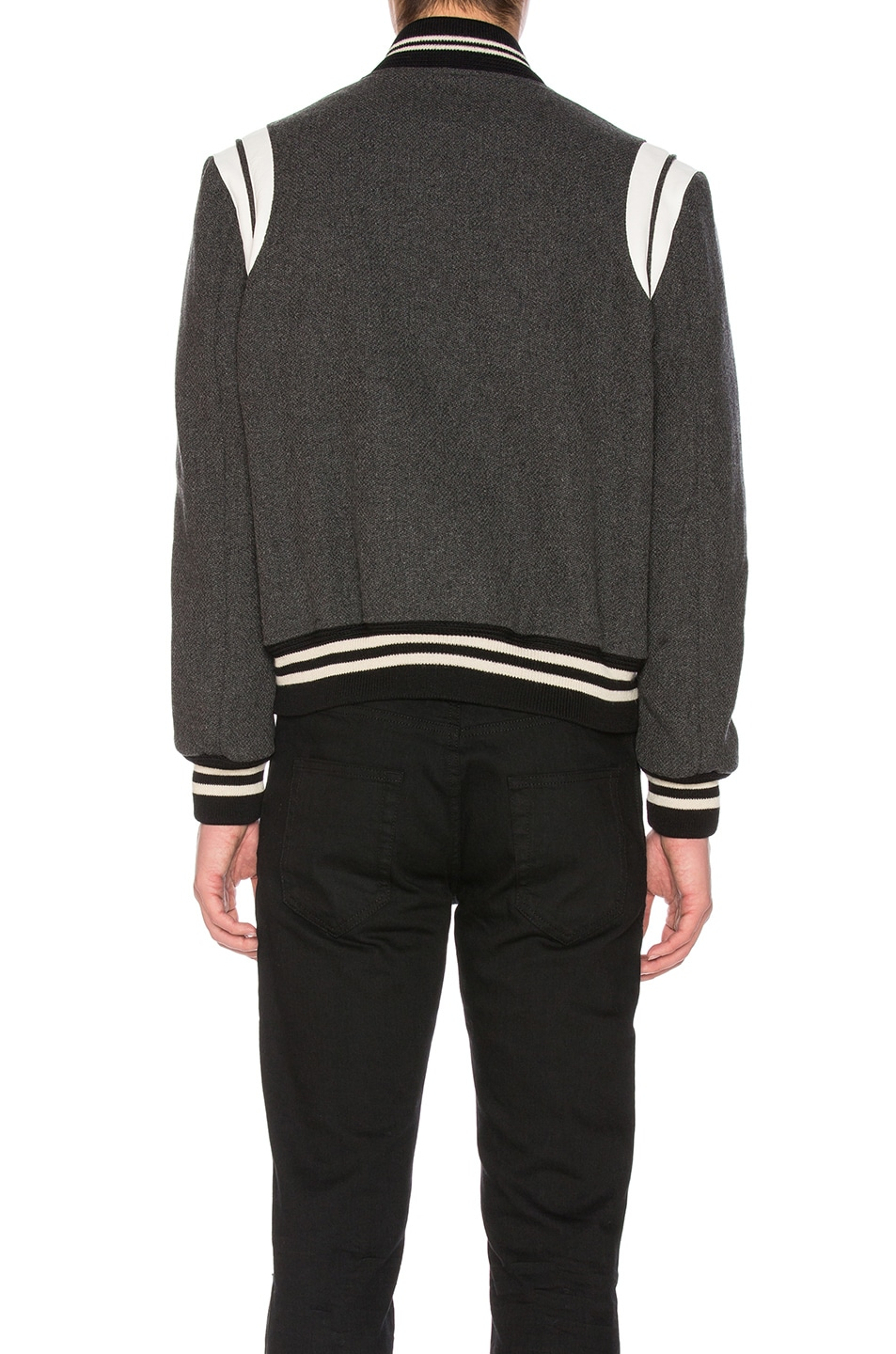 Image 4 of Saint Laurent Teddy Bomber Jacket in Grey Melange