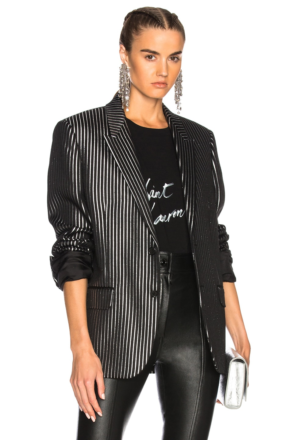 Image 1 of Saint Laurent Striped Tuxedo Jacket in Black & Silver