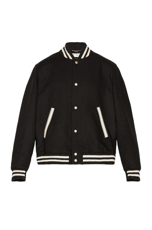 Image 1 of Saint Laurent Teddy College Varsity Jacket in Black