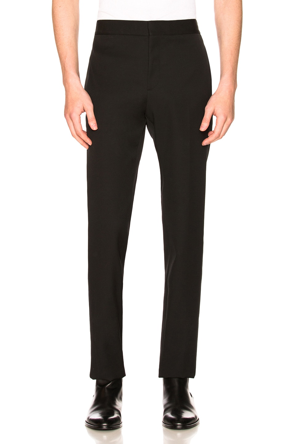 Image 1 of Saint Laurent Flat Front Trousers in Black