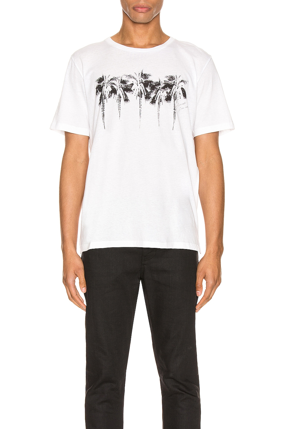 Image 1 of Saint Laurent Graphic Tee in Natural & Black