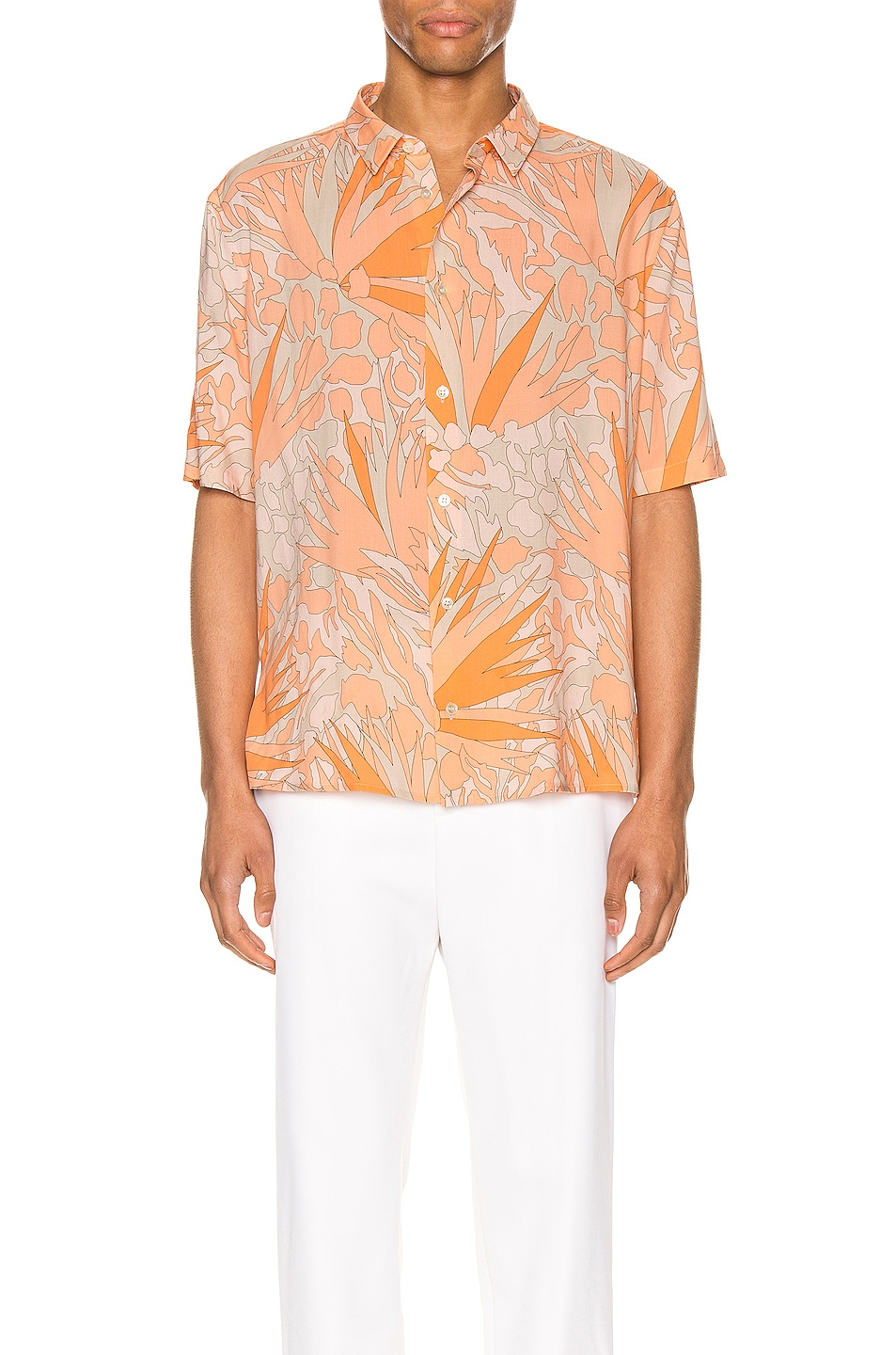 Image 1 of Saint Laurent Short Sleeve Shirt in Orange Taupe