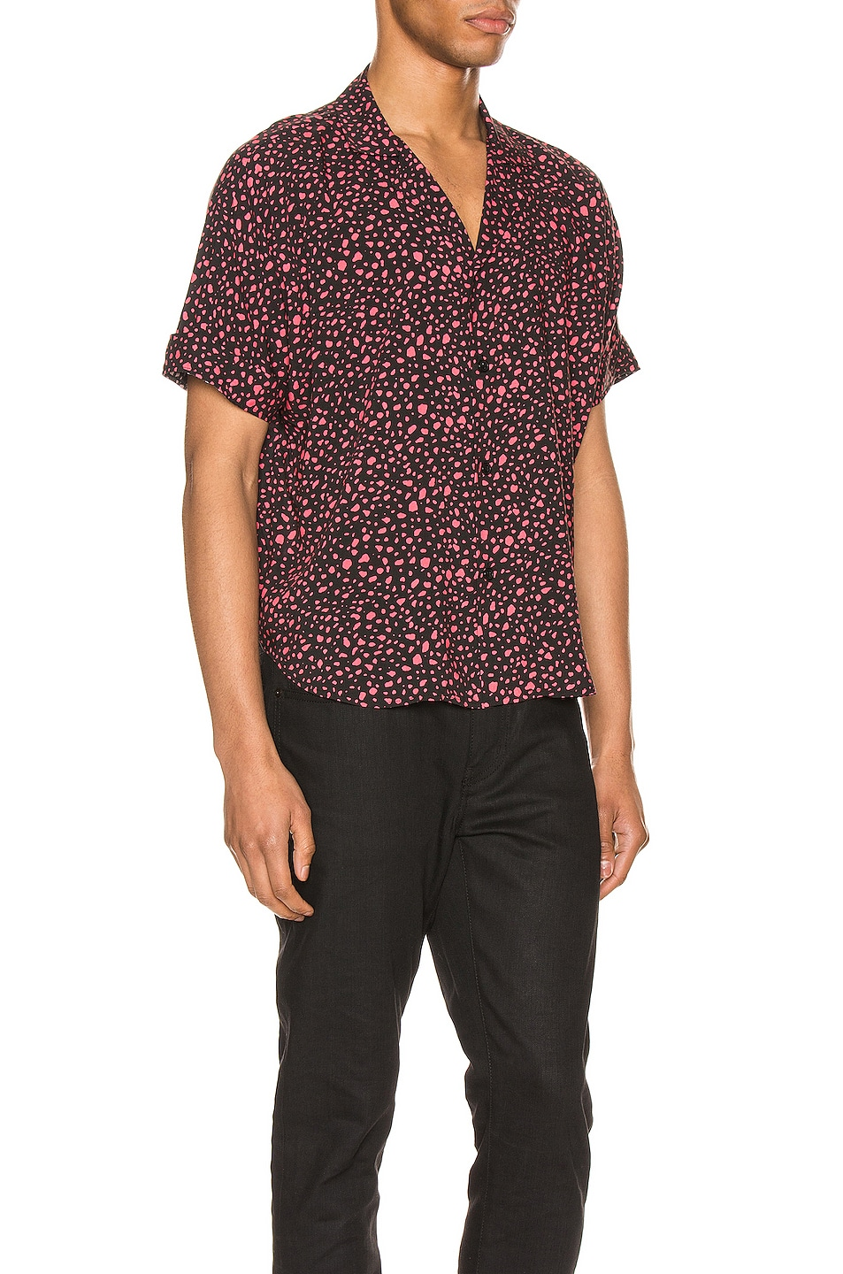 Image 2 of Saint Laurent Short Sleeve Shirt in Black & Fuchsia