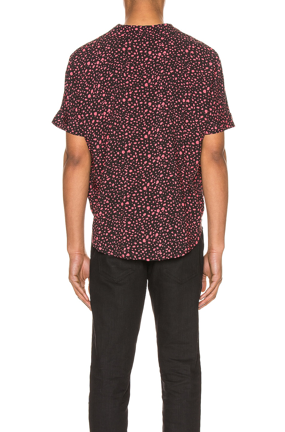 Image 3 of Saint Laurent Short Sleeve Shirt in Black & Fuchsia