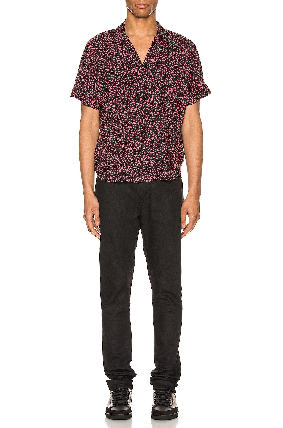 Image 4 of Saint Laurent Short Sleeve Shirt in Black & Fuchsia