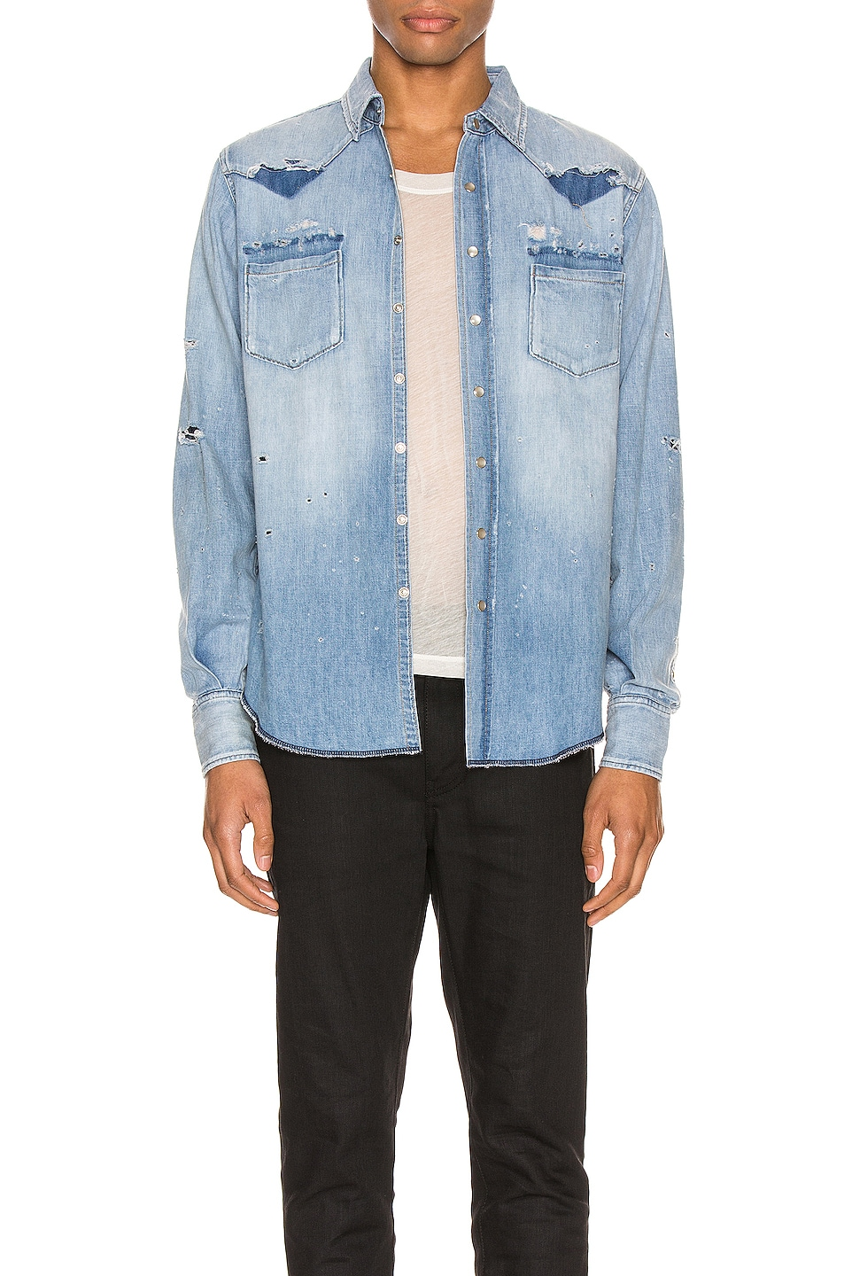 Image 1 of Saint Laurent Western Shirt in Dusty Pink Blue