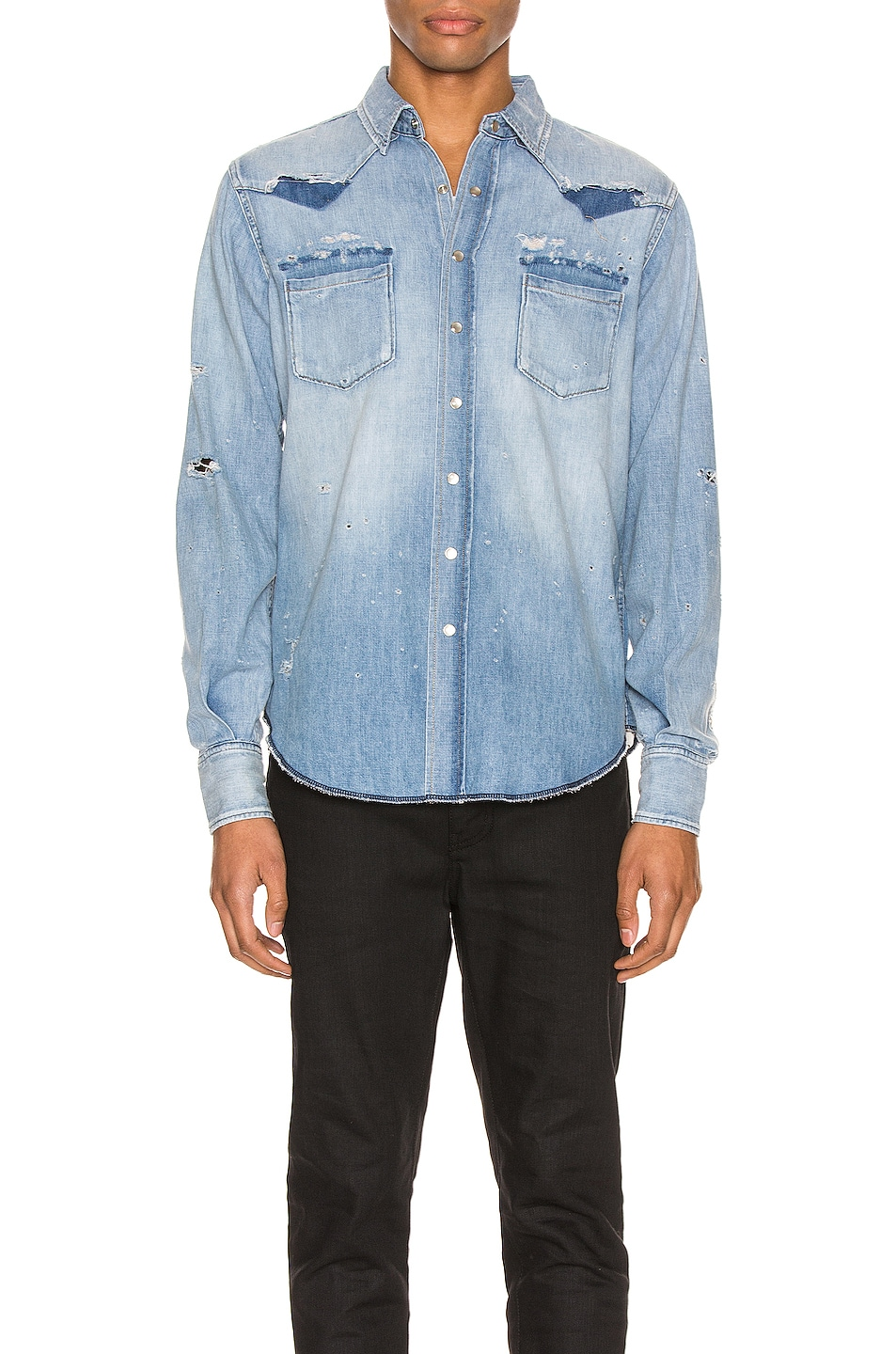 Image 2 of Saint Laurent Western Shirt in Dusty Pink Blue