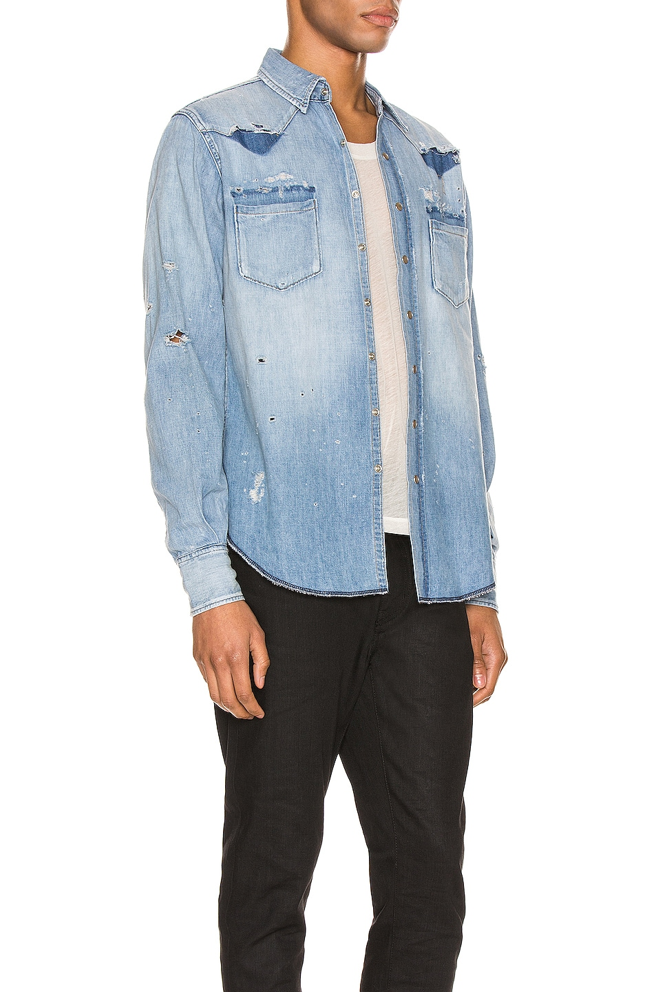 Image 3 of Saint Laurent Western Shirt in Dusty Pink Blue