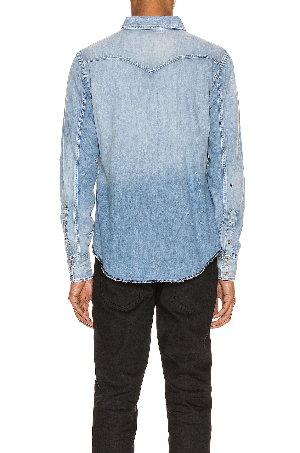 Image 4 of Saint Laurent Western Shirt in Dusty Pink Blue