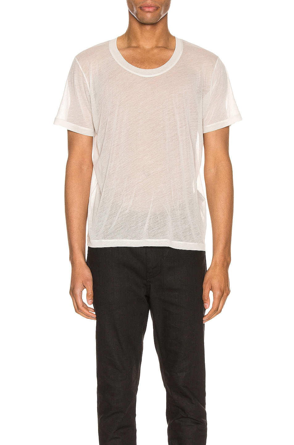 Image 1 of Saint Laurent Low Neck Tee in Grey