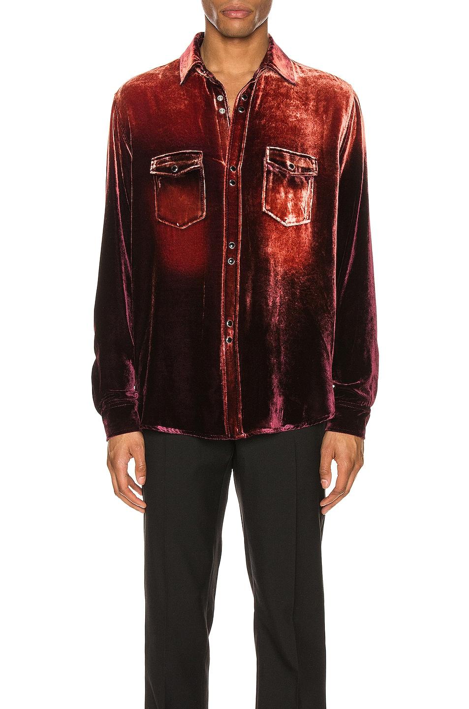 Image 1 of Saint Laurent Oversized Shirt in Burgundy Light Bleach