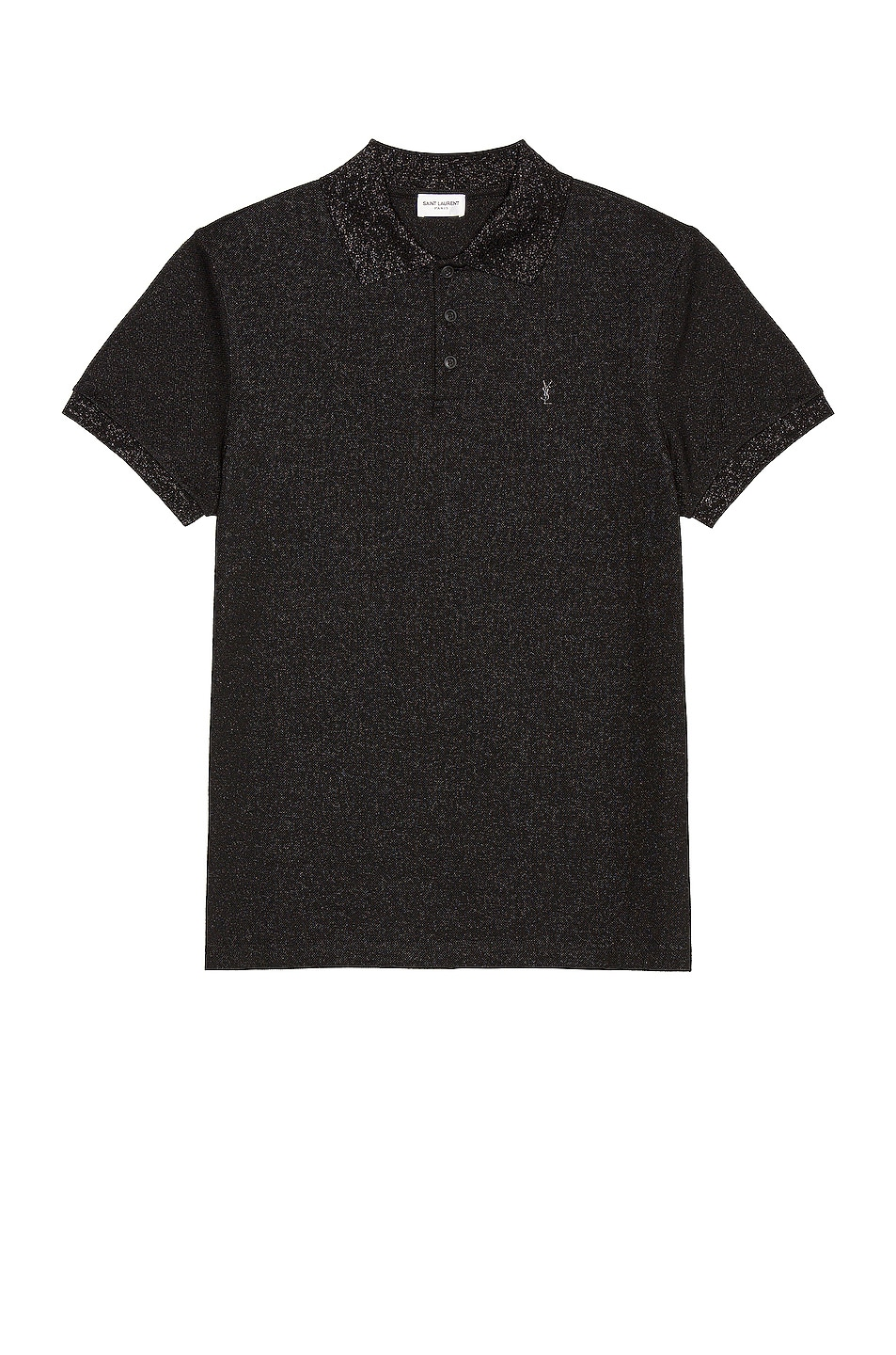 Image 1 of Saint Laurent Short Sleeve Polo in Black & Black Brillant