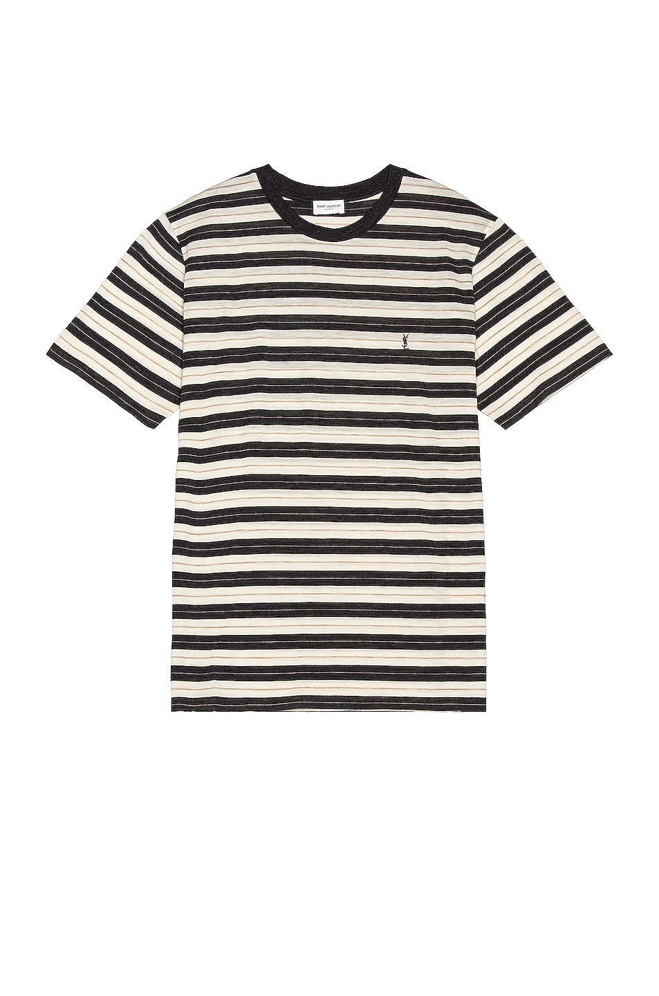 Image 1 of Saint Laurent Striped Tee in Anthracite Chine & Nat