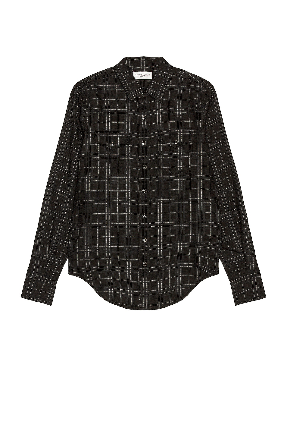 Image 1 of Saint Laurent Slim Western Shirt in Black & White