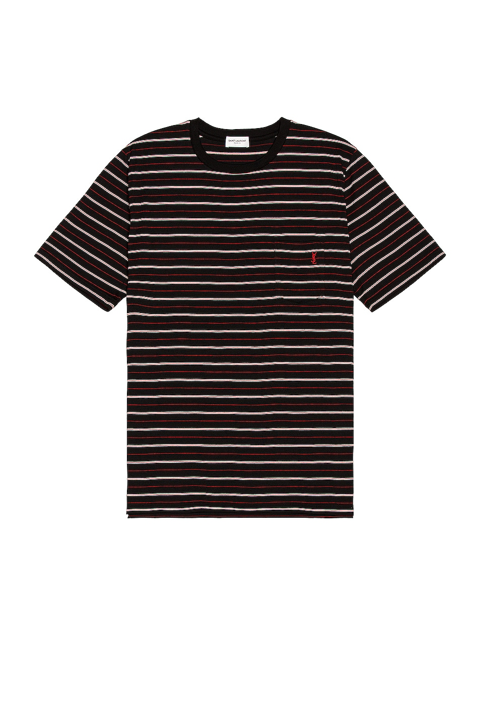Image 1 of Saint Laurent Striped Tee in Black & Rouge & Naturel