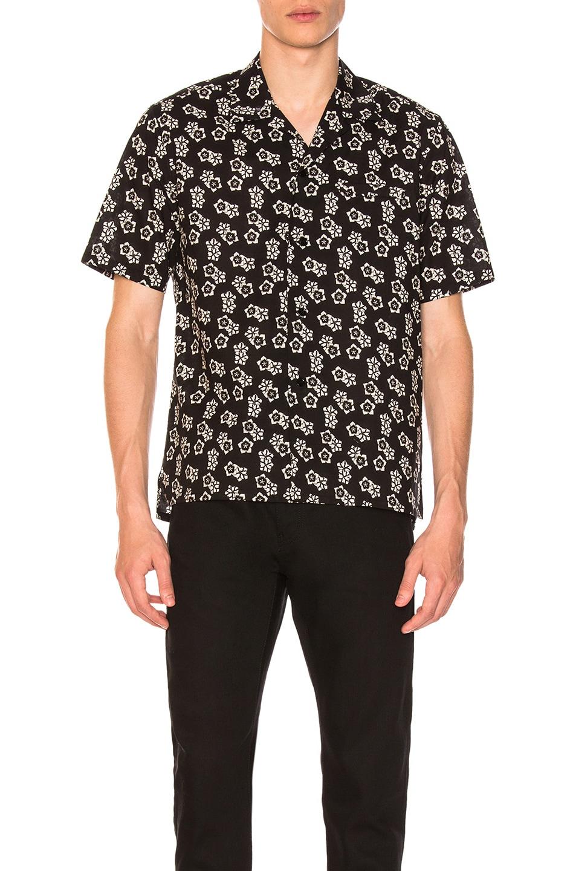 Image 1 of Saint Laurent Short Sleeve Printed Shirt in Black
