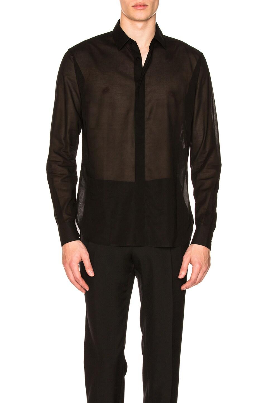 Image 1 of Saint Laurent Micro Polka Dot Shirt in Black