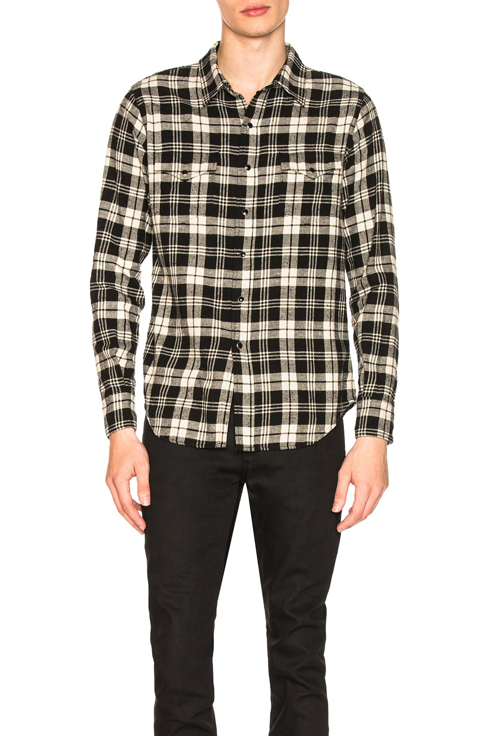 Image 1 of Saint Laurent Classic Western Shirt in Black & White Check