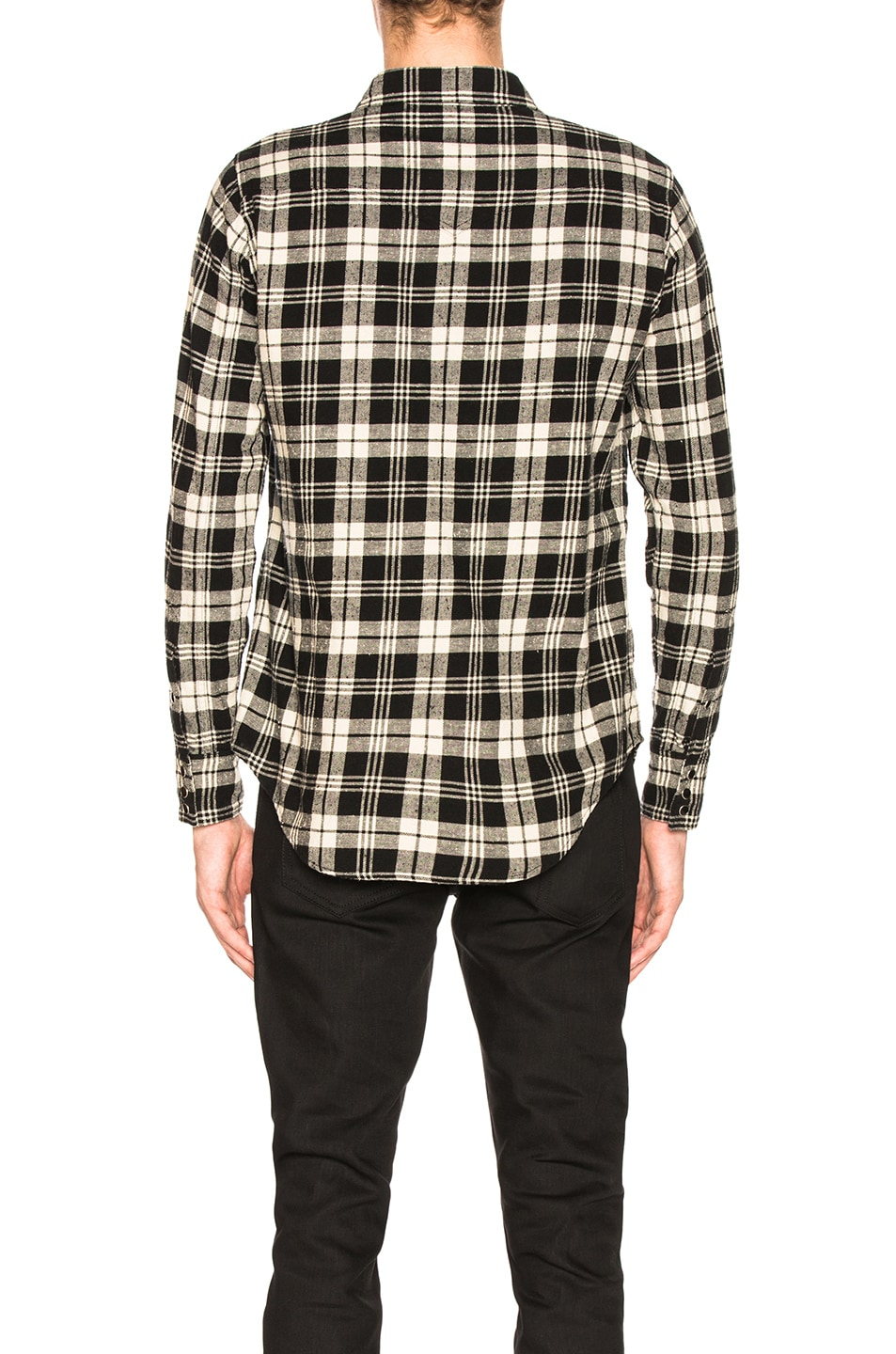 Image 3 of Saint Laurent Classic Western Shirt in Black & White Check