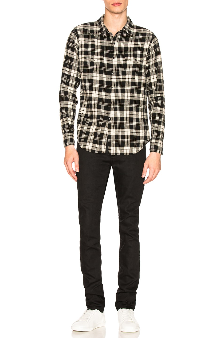 Image 4 of Saint Laurent Classic Western Shirt in Black & White Check