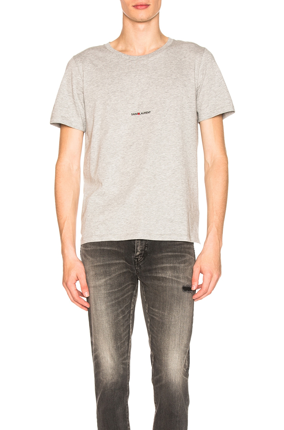 Image 1 of Saint Laurent Classic Logo Tee in Grey
