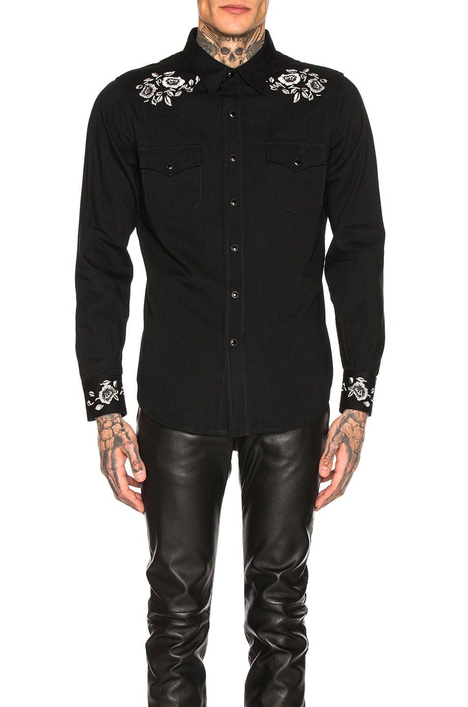 Image 1 of Saint Laurent Classic Western Shirt in Black Rinse
