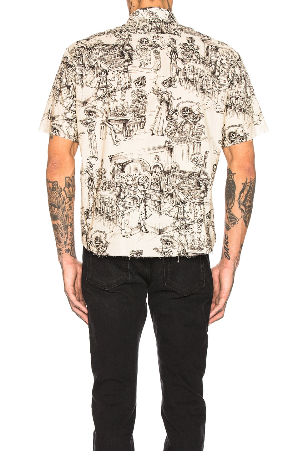 Saint Laurent Print Shirt Chalk Black low-cost